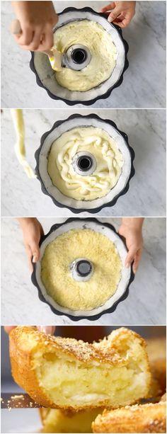 Bolo de Pão de Queijo.O resultado dessa combinação é simplesmente irresistível! #bolo #paodequeijo #bolodepaodequeijo #massas