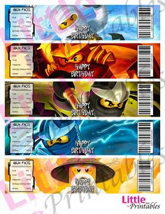 INSTANT DOWNLOAD  Ninjago Water Labels  Happy by LittlePrintables