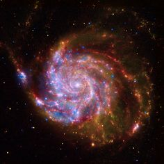 BEYOND MOTHER: This image of the spiral galaxy Messier 101 is a composite of data from NASA's Chandra X-ray Observatory, the Hubble Space Telescope, and the Spitzer Space Telescope. Galaxy Wallpaper, Pinwheel Galaxy, Spitzer Space Telescope, Nasa Space, Pseudo Science, Hubble Images, Hubble Photos, Painting Edges, Body Art