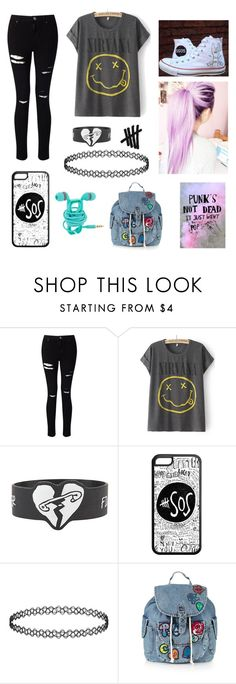 """fake emo starter pack"" by whyamilikethis ❤ liked on Polyvore featuring Miss Selfridge, Converse, By Emily and Topshop"