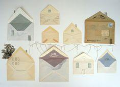 Sobres bonitos con forma de casitas