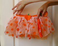 Infant Pumpkin Tutu Orange and White Tulle Petty by AbateArts, $7.00