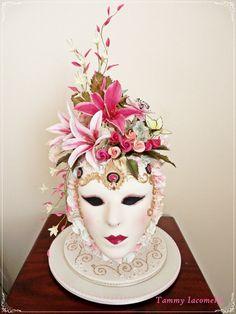 My prize winning cake. Sugar mask with sugar flowers