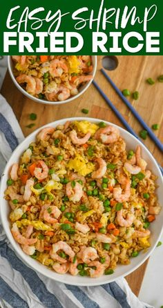 This Easy Shrimp Fried Rice recipe comes together in about 15 minutes and is sure to be a crowd pleaser. With just a few simple ingredients you can wow your family with shrimp and fried rice. Chinese Shrimp Fried Rice, Easy Shrimp Fried Rice Recipe, Fried Rice Recipe Chinese, Prawn Fried Rice, Shrimp And Rice Recipes, Easy Rice Recipes, Shrimp Dishes, Rice Dishes, Seafood Recipes