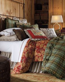 Another country estate, french influence, rustic bedding.