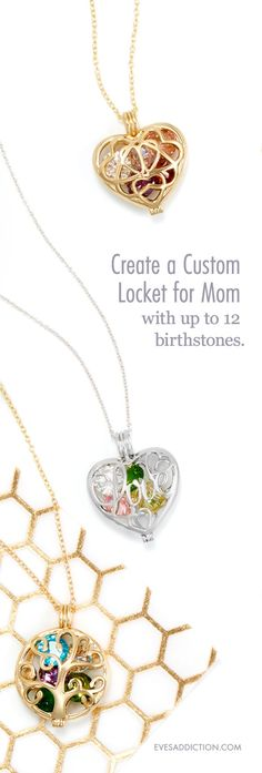 It's not easy shopping for a unique gift for mom every year. You've done the flowers, the candy, and the macaroni string necklace but this year you really want to give Mom something special. Caged Jewelry and Necklaces might just be the thing. A new and stylish collection at Eve's Addiction, these personalized lockets can hold any 12 birthstones that you pick. You can also save 30% when you order. #mothersdaygift