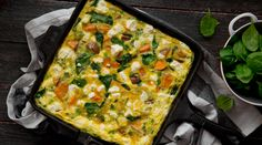 Sweet Potato, Rocket and Feta Frittata. This is a really lovely, easy dinner that will always go down well, but it also works great as a brunch or any time of the day, for that matter. Well worth giving a shot! Feel free to change the veg we have used for any other veg you have.
