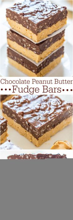 Chocolate Peanut Butter Fudge Bars — Can't decide if you want PB or chocolate? Make these easy no-bake fudge bars! Chocolate   PB is sooo irresistible!! Chocolate Peanut Butter Fudge, Peanut Butter Recipes, Chocolate Recipes, Chocolate Tarts, Easy No Bake Desserts, Easy Desserts, Dessert Recipes, Candy Recipes, Bar Recipes