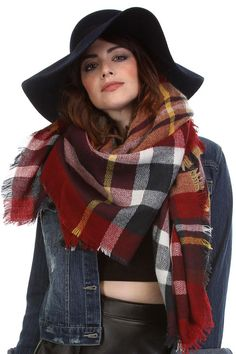 Red Plaid Blanket Scarf - Longhorn Fashions