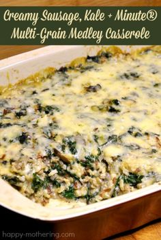 Looking for an amazing casserole recipe to warm you up on a cold winter night? Give my recipe for a Creamy Sausage, Kale and Minute® Multi-Grain Medley Casserole a try! Paleo Recipes, Real Food Recipes, Dinner Recipes, Easy Recipes, Jewish Recipes, Free Recipes, Yummy Food, Rice Casserole, Casserole Recipes