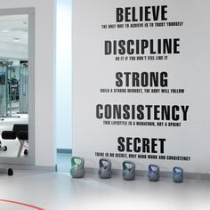 Diy Home Gym, Gym Room At Home, Basement Gym, Garage Gym, Workout Room Home, Workout Rooms, Wall Stickers, Wall Decals, Wall Art