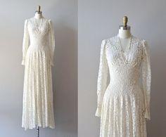1930s dress / lace 30s  dress / wedding dress / by DearGolden, $485.00