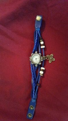 Blue Leather Watch with Butterfly by TheChristianBoutique on Etsy