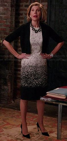 Diane�s ombre printed dress on The Good Wife.  Outfit Details: http://wornontv.net/38659/ #TheGoodWife