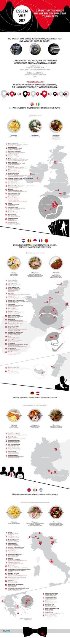 Essen wie James Bond: An diesen 72 Locations hat 007 bereits gespeist.  http://blog.goeuro.de/essen-wie-james-bond/