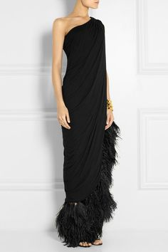 LANVIN Feather-trimmed jersey gown