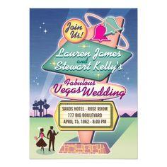 Vintage Vegas Wedding Invitations, 5 x 7