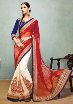 Designer Softnet Saree In Red & Off white . Shop at - http://www.gravity-fashion.com/designer-softnet-saree-in-red-off-white-ae0559.html