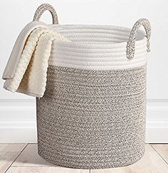 Amazon.com: Storage Baskets Cotton Rope with Handles, 15 x14 Large Bins Box Organizer Containers, Nursery Decor for Laundry,Toy: Home & Kitchen