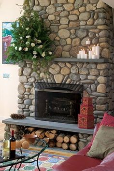 rock fireplace with wood storage under | stone fireplace with wood storage underneath  We want flat rock not round barn wood upper