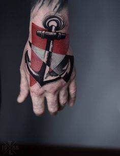 Cool anchor hand tattoo!