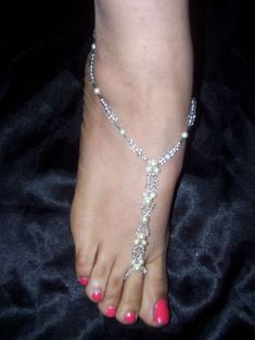 468264488 Hand Made Bridal Barefoot Sandal Beach Jewelry Anklet  Foot Thong  Toe Ring
