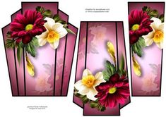 Art Deco Stacker Chrysanthemum Spring on Craftsuprint designed by Anne Lever - This lovely art deco style, shaped topper features a beautiful spring daffodil and chrysanthemum. It has two stacker layers to add depth. - Now available for download!