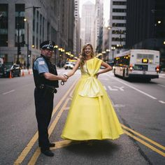 Yellow ball gown dress with bow on the street of Downtown Chicago. Ball Gown Dresses, Dress With Bow, Dressmaking, Chicago, Women Wear, Bows, Street, Yellow, How To Wear