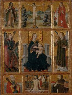 Jaume Huget retaule amb la mare dedeu i sants