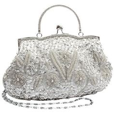 Wedding gift:Silver Antique Retro Flower Garden Embellished Seed Bead Sequin Kiss Closure Clasp Soft Clutch Evening Bag Purse Handbag with Handle / Detachable Shoulder Chain