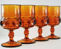 Vintage Goblets Set of Four Dark Amber Glass by TheBasementVault