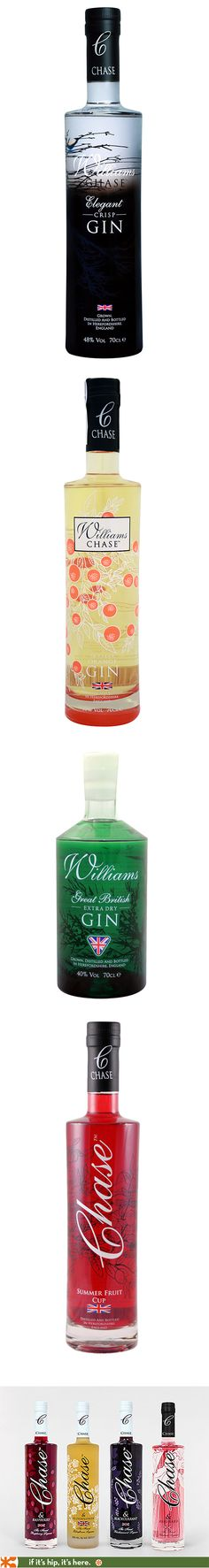 Williams-Chase Crisp Gin, Orange Seville Gin, Extra Dry Gin, Summer Fruit Cup and Flavored Liqueur bottles are all so pretty.