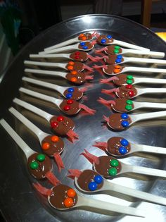 Reptile Party Spoons. Chocolate, MnMs, Sour Straps.