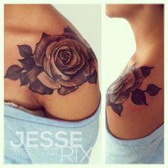 Black and Gray Rose Tattoo by Jesse Rix -  	Black and Gray Rose on the shoulder. 3hrs