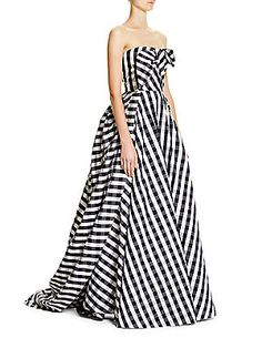 Carolina Herrera Gingham Plaid Gown - Black-White