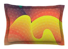 Tropical Floral by Dawid Roc Orange Cotton Pillow Sham