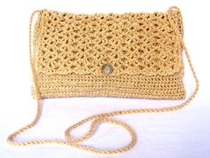 Crocheted Gold Evening Bag With Embossed Gold by EtsyBetsyBits, $20.00