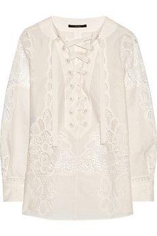 Gucci Crocheted cotton-poplin top   NET-A-PORTER