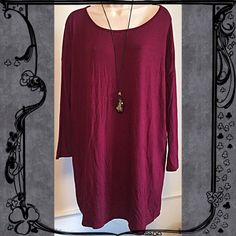 """JUST INNWOT Maroon red scoop neck tunic Beautiful NWOT Maroon red scoop neck tunic. 3/4 length sleeves. Made of stretchy rayon/spandex. So soft! Measures approx 33"""" long, 28"""" pit to pit, & 16"""" sleeves. Size small/medium. Could fit up to large. Bundle to save! NO TRADES Reasonable offers welcome via offer button. Boutique Tops Tunics"""