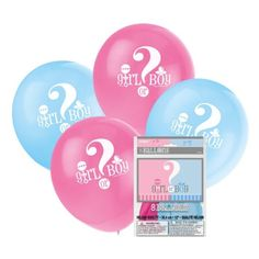 Create atmosphere with these gorgeous balloons from the gender reveal range. This range features a unisex colour scheme of pink, blue and white and these balloons feature the words 'Girl or Boy' across the middle. The pack contains 8 baby shower balloons in which 4 are pink and 4 are blue. These balloons are of helium quality so can be filled with helium if preferred to air fill. Made from natural rubber latex.