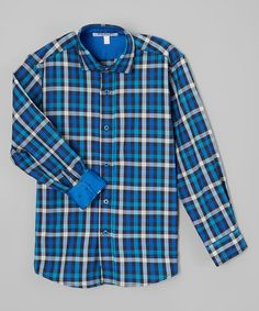 Another great find on #zulily! Blue Plaid Button-Up - Toddler & Boys #zulilyfinds