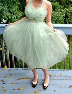 Vintage 1950s Tulle Mesh Prom Dress / Mint Green Dress / Ballerina Skirt / 50s Dress / Size S. $349.00, via Etsy.