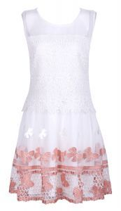 Pink Bowknot Embroidered Sleeveless Sheer Top Dress