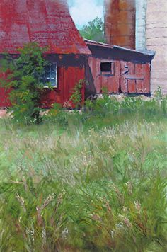 Along County V by Lisa Stauffer Pastel With Watercolor Underpainting ~ 18 x 12