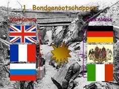 In de eerste wereldoorlog had je deCentralen en Geallierden. Duitsland , Bulgarije,Oostenrijk- Hongarije en het Osmaanse Rijk vormde samen  de centralen. Frankrijk, Engeland, Italië, Rusland, , Portugal en servie vormde samen de geallieerden. Oostenrijk- Hongarije had ruzie met Servie. Duitsland steunde Oostenrijk- Hongarije ,Servie en Rusland. En Frankrijk steunde Rusland hierbij. En daardoor verklaarde Duitsland weer oorlog aan Rusland en Frankrijk.