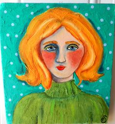 Folk Portrait on piece of old wood 8 x 9 by OneWildSwan on Etsy, Good uses for old wood!