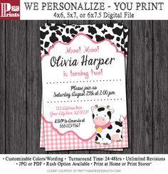 Cow Birthday Invitation - Barnyard Birthday Invitations by PuggyPrints on Etsy