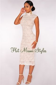 Off White Lace Nude Illusion Mock Neck Midi Dress