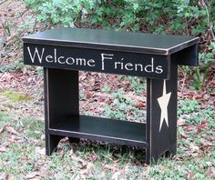 Primitive Country Farmhouse Bench with Verse, Home Decor, farmhouse bench, rustic, wooden, hand painted, primitive, country