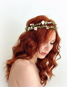 Floral crown pink bridal wreath boho wedding by gardensofwhimsy